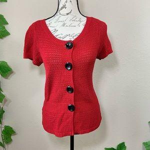 Ann Taylor Tops - Ann Taylor Red Knit Crochet Retro Top Cardigan